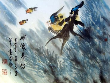 Chinese Angelfish Painting,30cm x 45cm,2326002-x