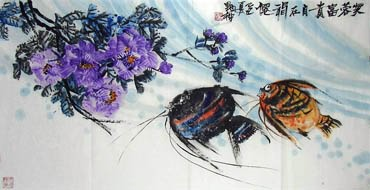 Chinese Angelfish Painting,66cm x 136cm,2371001-x