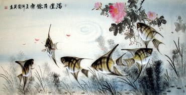 Chinese Angelfish Painting,50cm x 100cm,2670002-x