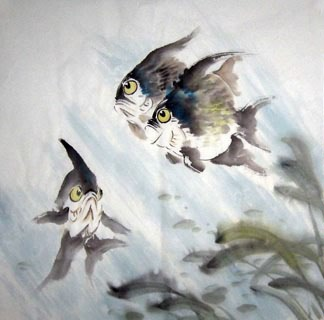 Chinese Angelfish Painting,69cm x 69cm,2805007-x