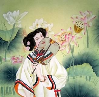 Chinese Beautiful Ladies Painting,66cm x 66cm,3774017-x