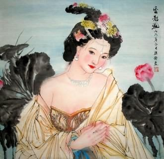 Chinese Beautiful Ladies Painting,69cm x 69cm,3778007-x