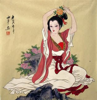 Chinese Beautiful Ladies Painting,69cm x 69cm,3801011-x