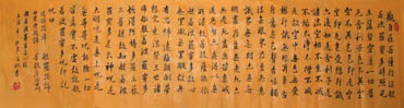 Chinese Buddha Words & Buddhist Scripture Calligraphy,35cm x 136cm,5903014-x