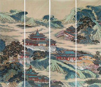 Chinese Buildings Pavilions Palaces Towers Terraces Painting,46cm x 180cm,lzx11188010-x