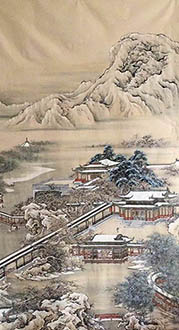 Chinese Buildings Pavilions Palaces Towers Terraces Painting,96cm x 180cm,lzx11188014-x