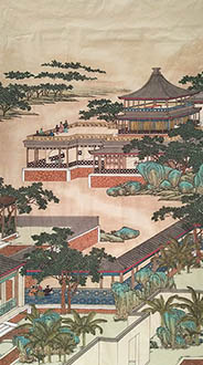 Chinese Buildings Pavilions Palaces Towers Terraces Painting,96cm x 180cm,lzx11188015-x