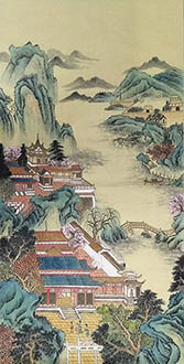 Chinese Buildings Pavilions Palaces Towers Terraces Painting,69cm x 138cm,wym11088021-x