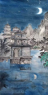 Chinese Buildings Pavilions Palaces Towers Terraces Painting,69cm x 138cm,wym11088022-x