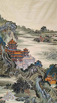 Chinese Buildings Pavilions Palaces Towers Terraces Painting,96cm x 180cm,wym11088026-x