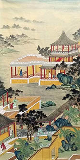 Chinese Buildings Pavilions Palaces Towers Terraces Painting,69cm x 138cm,wym11088027-x