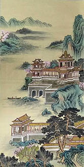 Chinese Buildings Pavilions Palaces Towers Terraces Painting,69cm x 138cm,wym11088030-x