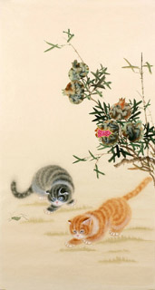 Chinese Cat Painting,55cm x 100cm,4340002-x