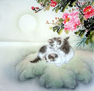Chinese Cat Painting,66cm x 66cm,4351012-x