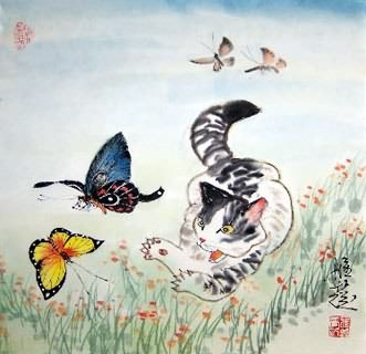 Chinese Cat Painting,45cm x 45cm,4367012-x