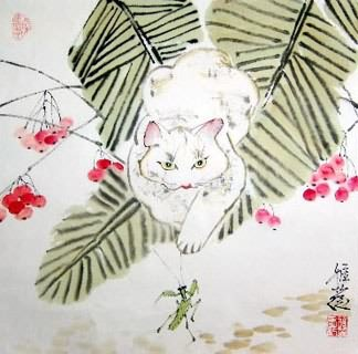 Chinese Cat Painting,45cm x 45cm,4367013-x