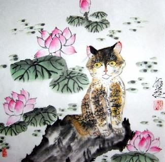 Chinese Cat Painting,45cm x 45cm,4367015-x