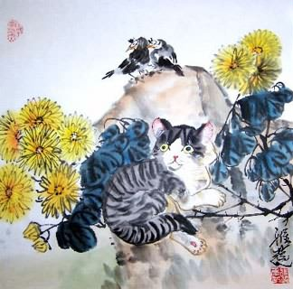 Chinese Cat Painting,45cm x 45cm,4367021-x