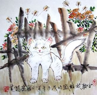 Chinese Cat Painting,45cm x 45cm,4367023-x
