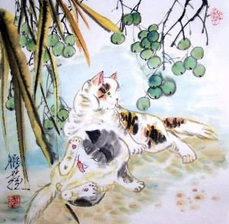 Chinese Cat Painting,45cm x 45cm,4367025-x