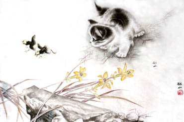 Chinese Cat Painting,69cm x 46cm,4379001-x