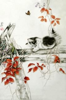 Chinese Cat Painting,69cm x 46cm,4379002-x