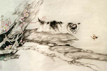 Chinese Cat Painting,69cm x 46cm,4379004-x
