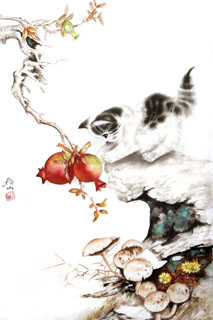 Chinese Cat Painting,69cm x 46cm,4379005-x