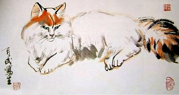 Chinese Cat Painting,38cm x 76cm,4533005-x