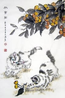 Chinese Cat Painting,43cm x 65cm,4616002-x