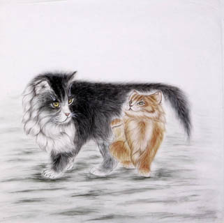Chinese Cat Painting,66cm x 66cm,4616009-x