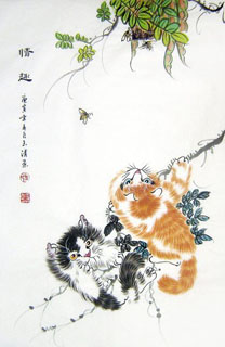 Chinese Cat Painting,69cm x 46cm,4616012-x