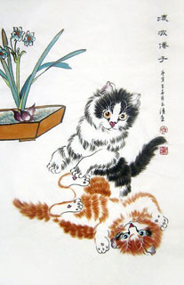 Chinese Cat Painting,69cm x 46cm,4616013-x