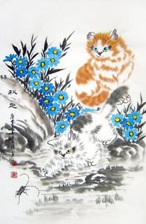 Chinese Cat Painting,69cm x 46cm,4616014-x