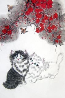Chinese Cat Painting,69cm x 46cm,4616015-x