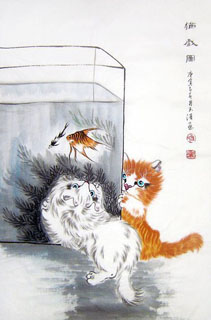 Chinese Cat Painting,69cm x 46cm,4616016-x