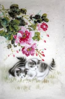 Chinese Cat Painting,69cm x 46cm,4620019-x