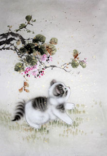 Chinese Cat Painting,69cm x 46cm,4620020-x
