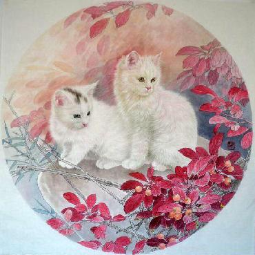 Chinese Cat Painting,66cm x 66cm,lbz41082001-x