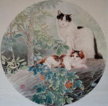 Chinese Cat Painting,66cm x 66cm,lbz41082002-x