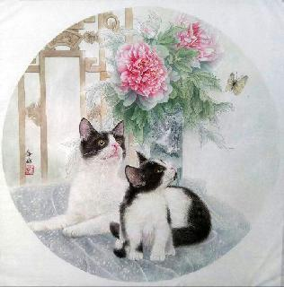 Chinese Cat Painting,66cm x 66cm,lbz41082003-x