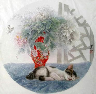 Chinese Cat Painting,66cm x 66cm,lbz41082005-x