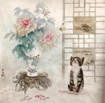 Chinese Cat Painting,66cm x 66cm,lbz41082006-x