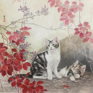 Chinese Cat Painting,66cm x 66cm,lbz41082007-x