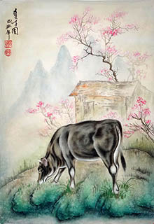 Chinese Cattle Painting,46cm x 68cm,4011011-x
