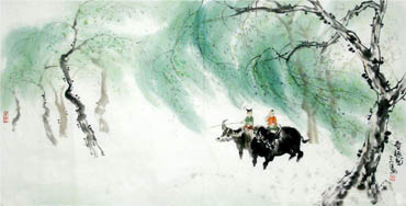 Chinese Cattle Painting,66cm x 136cm,4046005-x