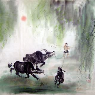 Chinese Cattle Painting,69cm x 69cm,4046006-x