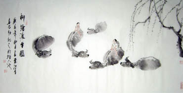 Chinese Cattle Painting,66cm x 136cm,4326001-x