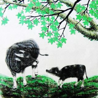 Chinese Cattle Painting,69cm x 69cm,4449002-x