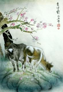 Chinese Cattle Painting,45cm x 65cm,4450003-x